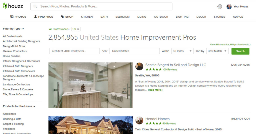 Find a Pro search on Houzz