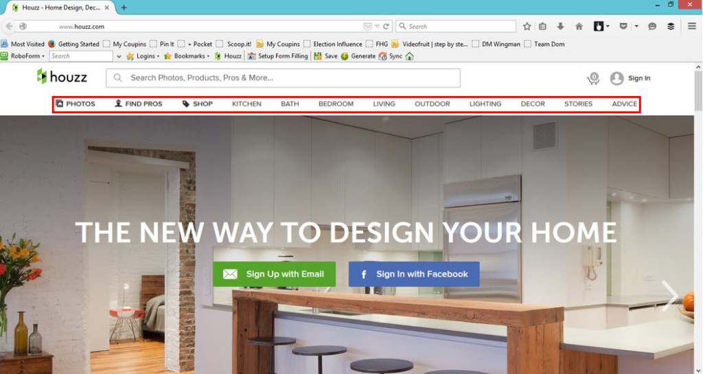 Houzz Home Page with Search Options