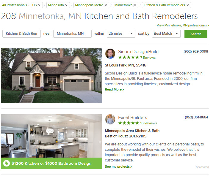 Houzz listings for local kitchen remoldeing contractors including