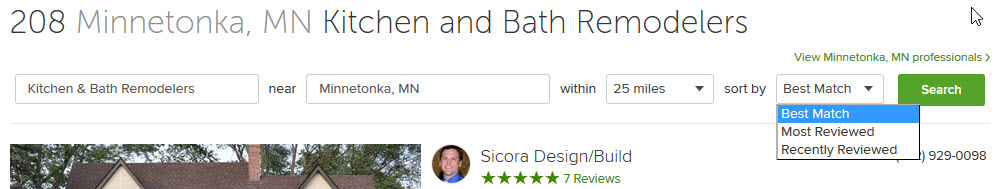 Search filters for best match, most reviewd and recently reviewed on Houzz