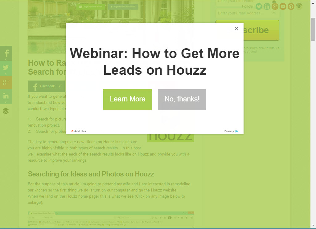 Exit intent opt-in popup for lead generation
